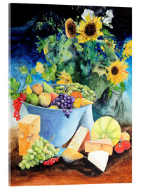 Akryylilasitaulu  Still life with sunflowers, fruits and cheese - Gerhard Kraus