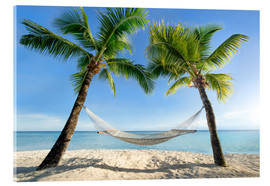 Akryylilasitaulu  Hammock at the beach in the south pacific - Jan Christopher Becke
