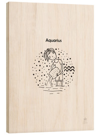 Puutaulu  Zodiac sign Aquarius - boy - Petit Griffin