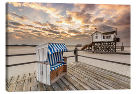Canvas-taulu  In the morning the North Sea beach of Sankt Peter Ording - Dennis Stracke