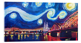 Akryylilasitaulu  Starry Night in Cologne - Van Gogh inspirations on Rhine with Cathedral and Hohenzollern Bridge - M. Bleichner