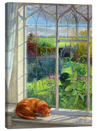 Canvas-taulu  Cat in the window in summer - Timothy Easton