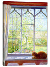 Canvas-taulu  Cat in window in spring - Timothy Easton