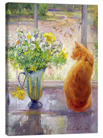Canvas-taulu  Cat with flowers in the window - Timothy Easton