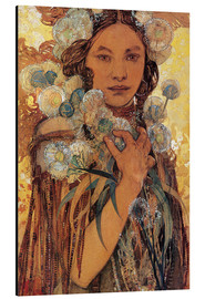 Alumiinitaulu  Native American woman with flowers and feathers - Alfons Mucha