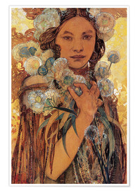 Juliste  Native American woman with flowers and feathers - Alfons Mucha