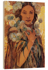 Puutaulu  Native American woman with flowers and feathers - Alfons Mucha