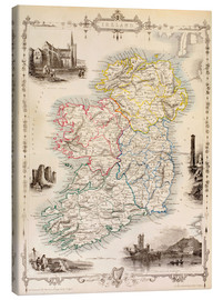 Canvas-taulu  Map of Ireland by Thomas Wright (18th century) - Ken Welsh