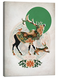 Canvas-taulu  Stag, bird and hare - Mandy Reinmuth