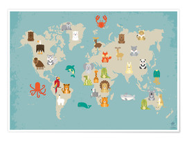 Juliste  World map with animals - Petit Griffin