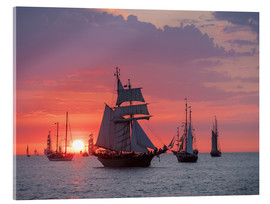 Akryylilasitaulu  Sailing ships on the Baltic Sea in the evening - Rico Ködder