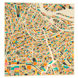 Akryylilasitaulu  Amsterdam map colorful - Jazzberry Blue
