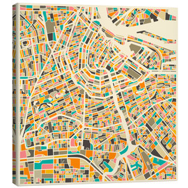 Canvas-taulu  Amsterdam map colorful - Jazzberry Blue