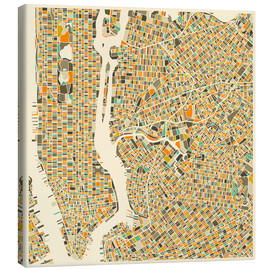 Canvas-taulu  New York map colorful - Jazzberry Blue