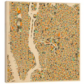 Puutaulu  New York map colorful - Jazzberry Blue