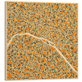 Puutaulu  Paris map colorful - Jazzberry Blue