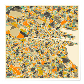 Juliste  Dublin Map - Jazzberry Blue