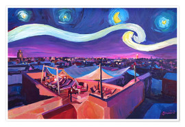 Juliste Starry Night in Marrakech   Van Gogh Inspirations on Fna Market Place in Morocco