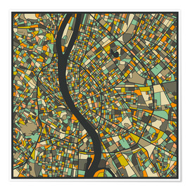 Juliste  Budapest Map - Jazzberry Blue