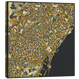 Canvas-taulu  Barcelona map - Jazzberry Blue