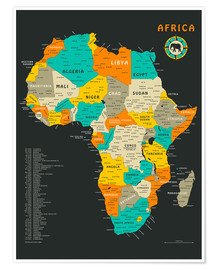 Juliste  Africa Map - Jazzberry Blue