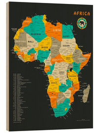 Puutaulu  Africa Map - Jazzberry Blue