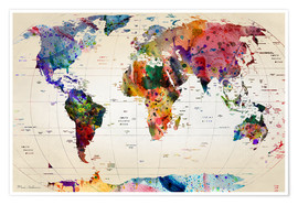 Juliste  Map of the world - Mark Ashkenazi