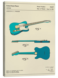 Canvas-taulu  Guitar Patent (1951, English) - Jazzberry Blue
