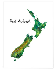Juliste  Map of New Zealand in watercolour - Ricardo Bouman