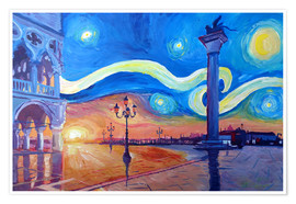 Juliste Starry Night in Venice Italy San Marco with Lion