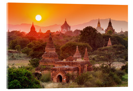 Akryylilasitaulu  Temples of Bagan at sunset