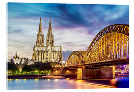 Akryylilasitaulu  Lighted Cathedral with Rhine and Bridge, Cologne