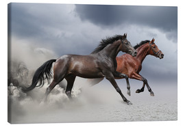 Canvas-taulu  Horses in the storm