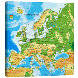 Canvas-taulu  Map of Europe