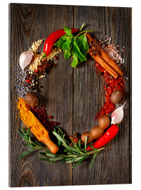 Akryylilasitaulu  wreath of spices and herbs