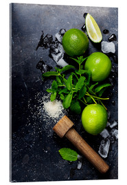 Akryylilasitaulu  Mojitos (ice cubes, mint, sugar and lime)