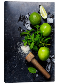 Canvas-taulu  Mojitos (ice cubes, mint, sugar and lime)