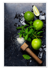 Juliste  Mojitos (ice cubes, mint, sugar and lime)