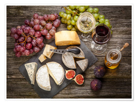 Juliste  Wine and cheese still life