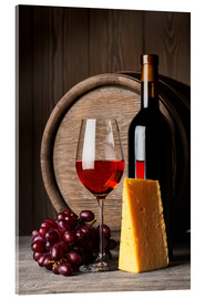 Akryylilasitaulu  Red wine with cheese and grapes