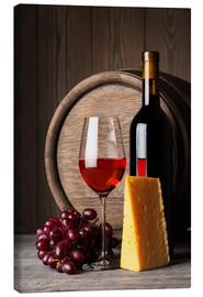 Canvas-taulu  Red wine with cheese and grapes
