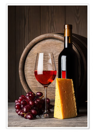 Juliste  Red wine with cheese and grapes