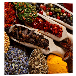 Akryylilasitaulu  Colorful spices and herbs