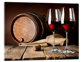 Akryylilasitaulu  Barrel and wine glasses with red wine