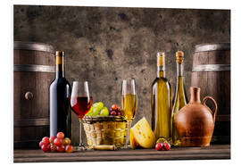 PVC-taulu  Wine, grapes, barrels and cheese