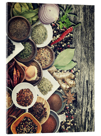 Akryylilasitaulu  Spices And Herbs On Rusty Old Wood