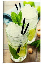 Canvas-taulu  Mojito cocktail with ingredients