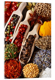 Akryylilasitaulu  Colorful aromatic spices and herbs