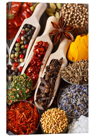 Canvas-taulu  Colorful aromatic spices and herbs