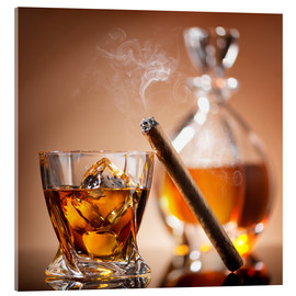Akryylilasitaulu  Cigar on glass of whiskey with ice cubes